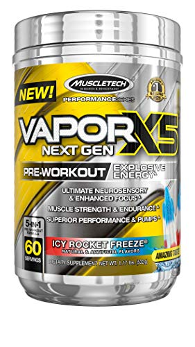 Pre Workout Powder   MuscleTech Vapor X5   Pre Workout Powder for Men & Women   PreWorkout Energy Powder Drink Mix   Sports Nutrition Pre-Workout Products   Icy Rocket Freeze (60 Servings)