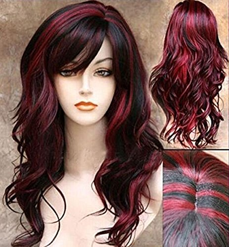 AneShe Wig Women's 2 Tones Wine Red Mixed Black Big Wave Synthetic Hair Long Wavy Curly Hair Wigs (Red/Black)