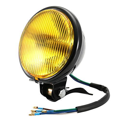 Faro Anteriori per Moto, Universal Rotondo Fari Motocicletta 35W 12V Retro Lampada Anteriore Giallo