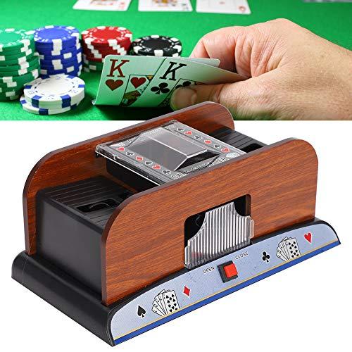 Cosiki Barajadora automática de Naipes, barajadora de Cartas de Madera Máquina automática barajadora de Naipes con batería para póquer de 2 mazos