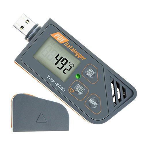Digital Waterproof USB Datalogger Humidity Temperature and Pressure Barometric Data Logger Gauge, Generate PDF & Excel Report LED Indicator