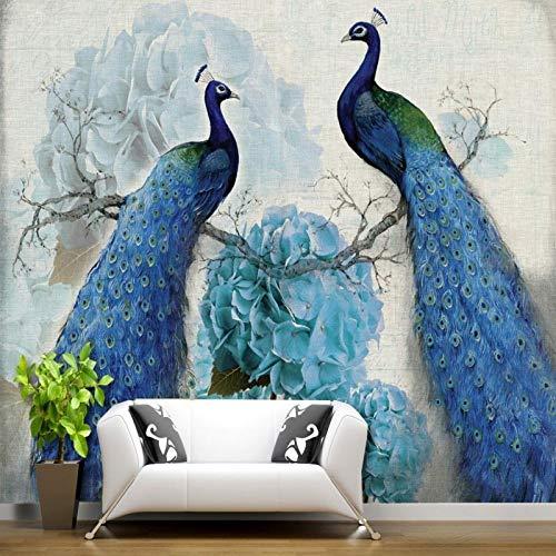 hhlwl Papel pintado 3d azul pavo real retro floral pintura al óleo fondo rico papel tapiz de pared sala de estar dormitorio pasillo papel tapiz mural-350cmx255cm