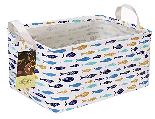 HUNRUNG Rectangle Storage Basket Cute Canvas Organizer Bin for Pet/Children Toys, Books, Clothes Perfect for Rooms/Playroom/Shelves (fish)