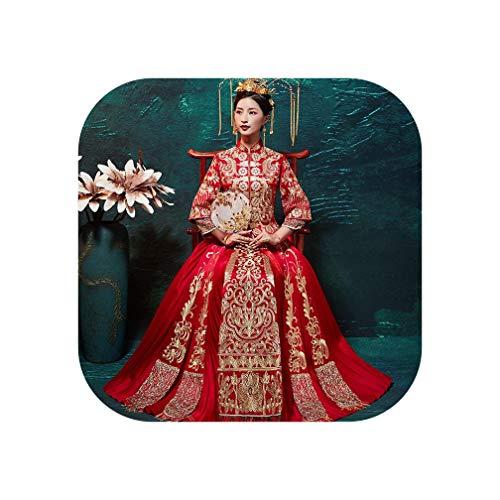 Chinesischer klassischer Qipao orientalischer Stil Frauen Eheanzug traditionelle Stickerei Cheongsam Vintage asiatisches Brautkleid Gr. X-Large, Rot1