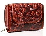 MATADOR® Echt Leder Geldbörse Damen Portemonnaie für Frauen TüV geprüfter RFID & NFCSchutz Geldtasche Wallet Blumen Prägung