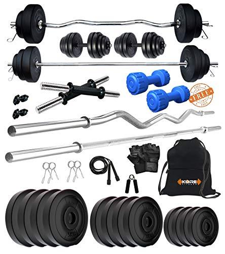 Kore PVC 40 Kg Combo 343 With PVC Dumbbells Home Gym Kit, Multicolour
