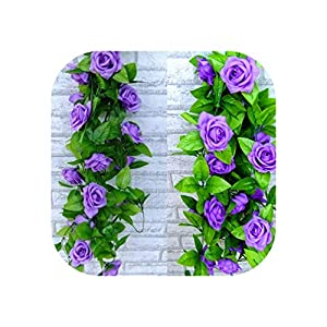 Bling-Bling Case 2.4M Artificial Rose Flowers Hanging Decoration Fake Silk Flowers Multicolor Simulation Silk Rose Ivy Wedding Home Decoration,Purple