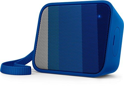 Philips BT110A/00 - Altavoz portátil inalámbrico (Bluetooth, a Prueba de Salpicaduras, Correa incluida, batería Recargable), Color Azul