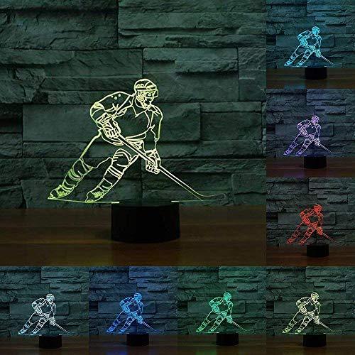 3D Lampe LED Nachtlicht,SUAVER 3D Optical Illusion Lampe Touch Tischlampe 7 Farbwechsel Dekoration Lampe USB Powered Stimmungslicht Skulptur Licht Geburtstags Weihnachts Geschenk (Eishockey-1)
