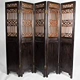Fine Asianliving Biombo Separador de Madera Chino Antiguo Tallado a Mano Siglo 19 5 Paneles