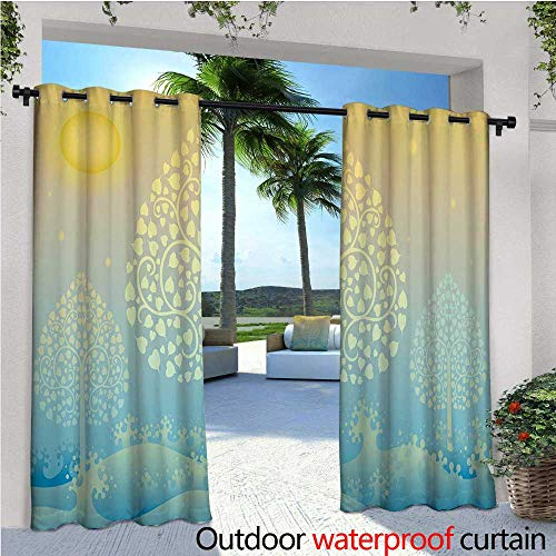 cobeDecor Art Exterior/Outside Curtains Thai Pattern Design Illustration of Gold Tree Oriental Culture Asia Eastern Ways for Patio Light Block Heat Out Water Proof Drape W120 x L96 Gold Sky Blue