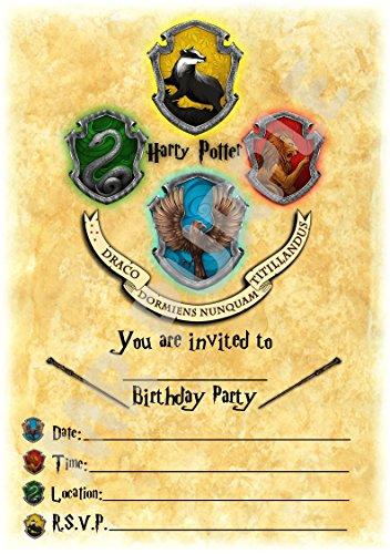 Harry Potter Verjaardagsfeestje Uitnodigingen - Zweinstein Portret Crest Thema Feestbenodigdheden/Accessoires (Pak van 12 A5 Uitnodigingen) WITH Envelopes