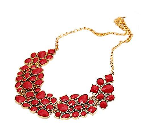DELEY Moda Donna Geometria Grosso Bubble Bib Dichiarazione Collare Collana Pendente Rosso