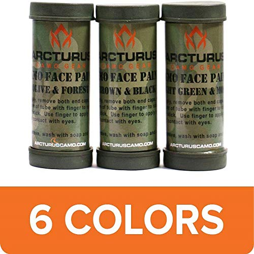 Arcturus Camo Face Paint Sticks - 6 Camouflage Colors in 3 Double-Sided Tubes   Compact Camo Concealment for Hunting, Paintball, Airsoft or Military Use