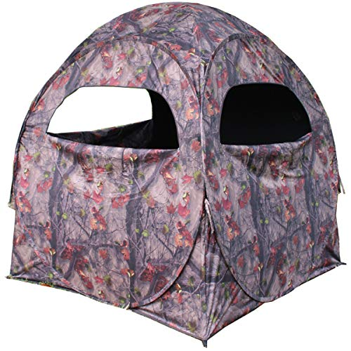 HME Spring Steel Unisex Portable 2 Person Pop Up Jm Camo Bow Shooting Deer Hunting Hub Ground Blind with Full-Width Windows & Silent Zippers