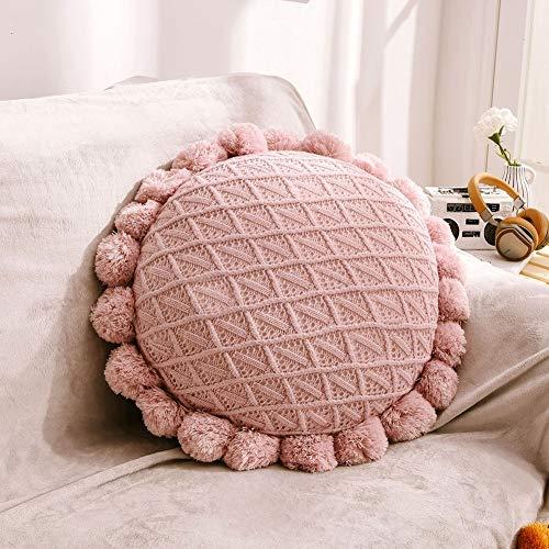 WYHQL Runde Futon Kissen, Boho dekorative Kissen mit Pompons, gewebte Kissen für Home Sofa Dekor (Color : Pink)