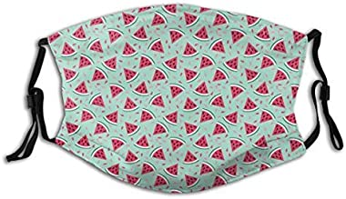 113 Comfortable Windproof mask,Watermelon Slices On Pastel Colored Background Pop Art Fresh Food,Printed Facial Decorations for Adult
