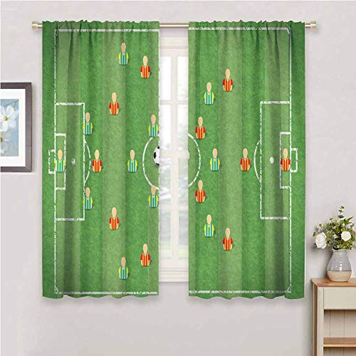 Fabric Window Curtain Soccer Soccer Formation Tactic Illustration Goalkeeper Strikers and Defenders Match Pattern for Bedroom Kindergarten Living Room W52 x L63 Inch Multicolor
