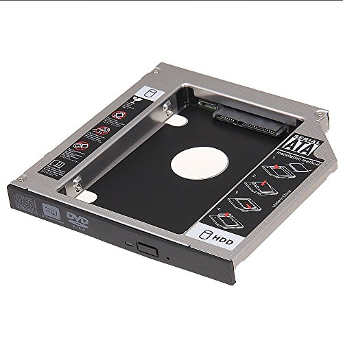 Cikuso Soporte Adaptador Disco Duro 2.5inch SATA 2nd HDD HD 12.7mm Universal CD DVD-ROM