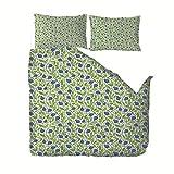 Generic Branded Ropa de Cama 3 Piezas Juego de Ropa de Cama con 140x200cm Funda de Edredón de Microfibra de 2 x 50x75cm Funda de Almohada Polyester Diseño de Impresión - Flores Azules