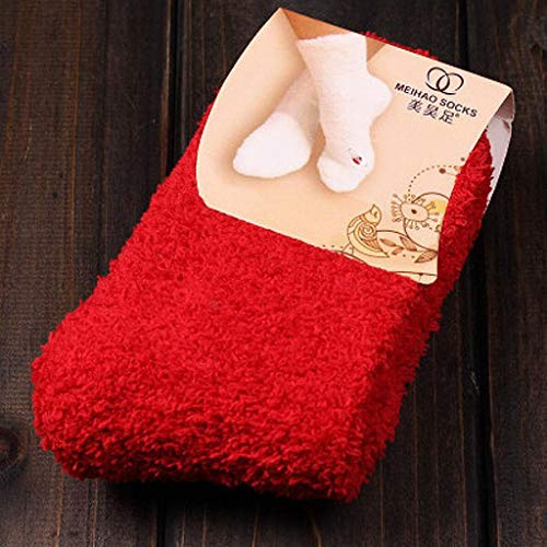 ruiruiNIE Womens Winter Fluffy Long Socks Dicke warme korallenrote Fleece Schlafboden Candy Farbe - Rot