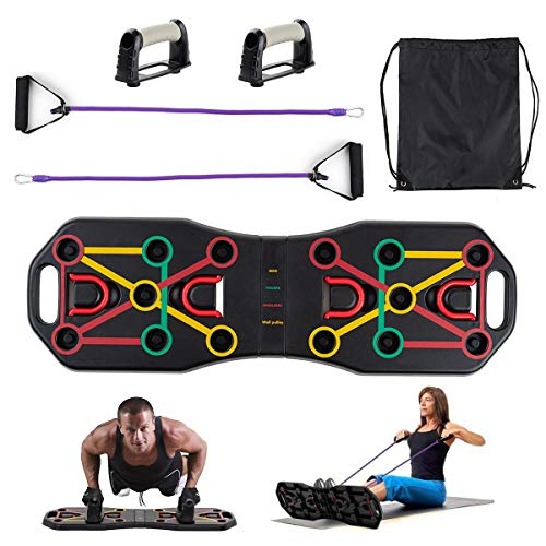 Locisne Tragbares Workout Push Up Board Bracket Board mit Widerstandsbändern, Arm Bauchmuskeltrainingssystem Bodybuilding-Trainingsgerät Fitness-Trainingsgeräte Indoor Outdoor