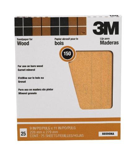 3M Pro-Pak Garnet Sanding Sheets, 150A-Grit, 9-in by 11-in