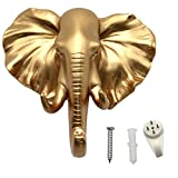 bouti1583 Single Elephant Head Wall Hanger, Coat Hat Hook Animal Shaped Decorative Gift Gold