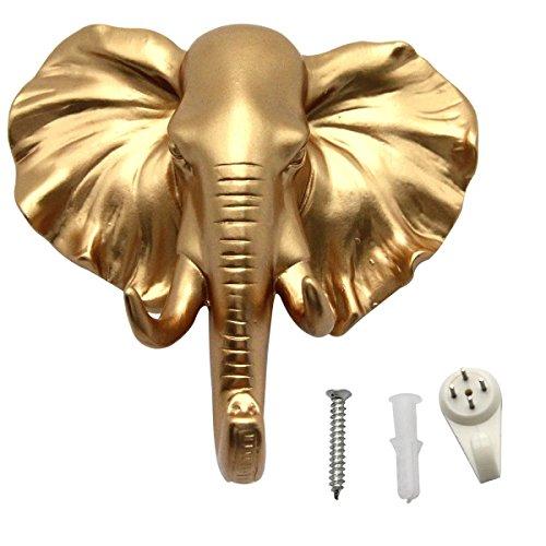 Evilandat Colgador de pared con forma de animal en forma de cabeza de elefante, color dorado