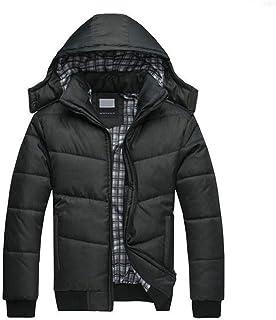 PinShang Men Cotton Padded Jacket Warm Hooded Overcoat Casual Winter Outwear Black high weight (0.75KG) XXXL