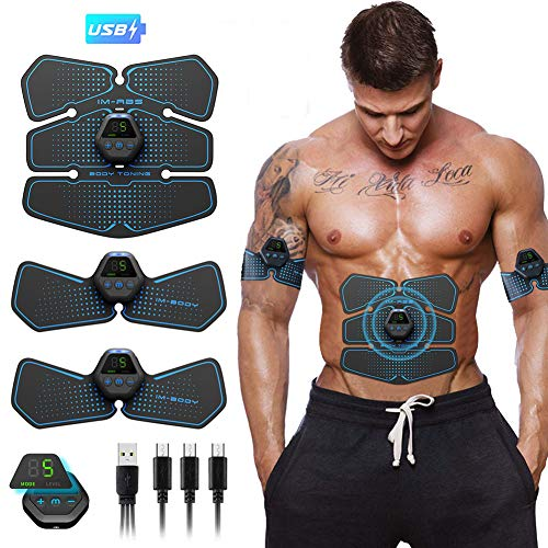 ABS Muscle Stimulator Abs Stimulator Belt USB Rechargeable LCD Display Abdominal Toner for Men Women Abdomen Leg Arm Muscle Trainer in Home Office Fat Burner with Gel Sheet