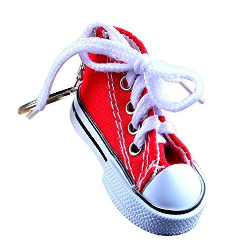 Daliuing Personlised Schlüsselanhänger Segeltuch Schuh Form Anhänger Schlüsselanhänger, tragbar, Schlüsselhalter Zubehör , rot, 7.5×3.5×3.5CM