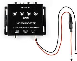 MiCarBa ビデオ映像4分配器 車載マルチビデオアンプ 4 RCAビデオアウトプット 1 RCAビデオインプット ビデオブースター4ポート(分配器)ヘッドレストモニター/サンバイザーモニター/フリップダウンモニター/