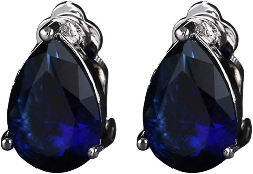 HEART SPEAKER Fashion Women Water Drop Pattern Clip On Earrings Jewelry Gift Blue + White