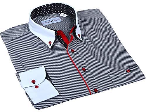 Designer Hemd Schwarz/weiß gestreift, HK Mandel Besonderes Herren Hemd aus Microfaser Bügelfrei Normal-Nicht tailliert Größe XXL