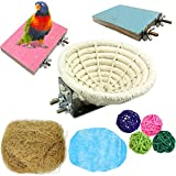 Handmade Cotton WeaveBird Breeding Nest Bed Hatching Hut Cavefor Parakeet Cockatiel Canary Lovebird and Small Parrot Cage(9 PCS)