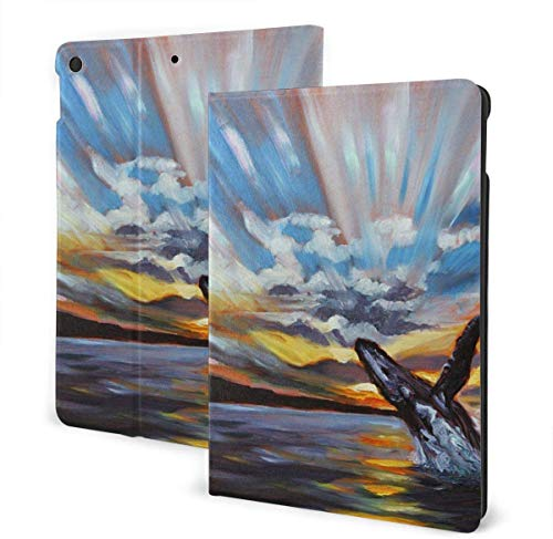 Cool USA Dollar Bill Case for New Ipad 7th Generation 10.2 Inch 2019 Multi-Angle Viewing Folio Smart Stand Cover Auto Wake/Sleep for Ipad 10.2' Tablet-Humpback Whale Jumping Painting-One Size