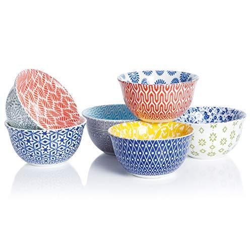 Amazingware Porcelain Bouillon Cups - 8 Ounce Dessert Bowls, Set of 6, Assorted Designs