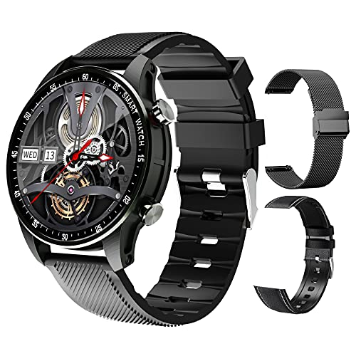FMSBSC Reloj Inteligente con Medidor de Temperatura Corporal/Llamada Bluetooth/Pulsómetros/Sueño/SpO2/Presión Arterial, 11 Modos Deportivos, Fondo de Bricolaje, Pulsera Actividad Inteligente,Negro