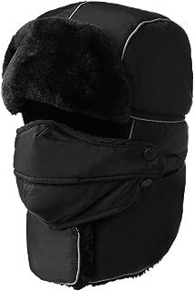 Fancet Unisex 100% Rabbit Fur Bomber Trapper Mask Earflap Ushanka Russian Winter Hat 55-61cm