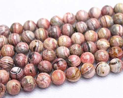 Lot de 47 perles rondes en rhodochrosite naturelles de 4 mm, 6 mm, 8 mm, 10 mm, 12 mm.