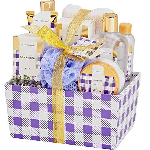 Bad Geschenkset für Frauen, SPA LUXETIQUE 10 tlg. Lavendel Duft Bad Set Geschenkbox mit Schaumbad, Duschgel, Bodylotion, Badesalz, Badeschwamm, Bestes Geschenk zum Vatertag