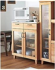家具 収納 キッチン収納 食器棚 レンジ台 レンジラック キッチンラック Pippi/ピッピ アルダー材コンパクトキッチン カウンター 幅80.5cm H05406