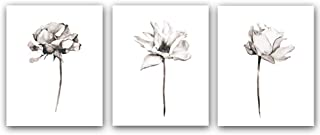 """Blooming Lotus Flower Art Print Elegant Floral Art Picture Poster Set of 3 (10""""X8""""Canvas Botanical Wall Art Painting for Yoga Studio Office Home Decor Floral Lover Gift,No Frame"""