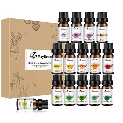 MayBeau Ätherische Öle Set 15 x 5 ml ätherisches Öl 100% Pur & Naturreines Aromatheraphie Duftöl Geschenkset Lavendel Orange Zitrone Ylang und mehr für Diffuser Duftlampen Geeignet