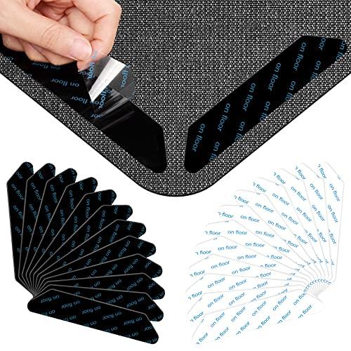 SUPWALL Antirutschmatte Für Teppich, 24 Stück Rug Grippers Rutschfester Doppelseitig Teppich Ecke rutschfest Teppichstopper Starke Klebrigkeit fürunterlage schreibtischstuhl Matten, Schwarz+weiß