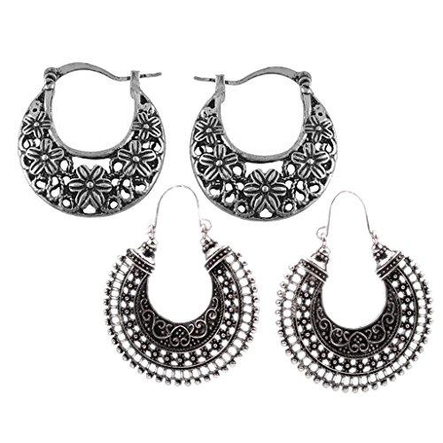 sharprepublic 2 Pairs Retro Filigree Hoop Drop Dangle Earrings Ethnic Statement Jewelry