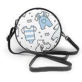 Bolso de hombro redondo de piel auténtica, diseño de baby shower sin costuras, con correa ajustable para el hombro para mujer