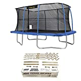 JumpKing 10 x 14' Trampoline with Safety Net and XDP Recreation Metal Anchor Kit