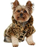 Leopard Print Faux Fur Dog Coat Pet Warm Sweater for Small Dogs Puppy Chihuahua (XS)